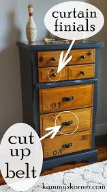 dresser makeover with a belt, painted furniture, repurposing upcycling Refurbished Furniture, Paint Furniture, Repurposed Furniture, Shabby Chic Furniture, Furniture Projects, Furniture Makeover, Antique Furniture, Italian Furniture, Furniture Styles