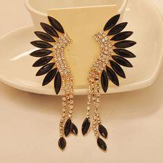 Pair of Delicate Diamante Tassels Pendant Fan Shaped Earrings For Women, AS THE PICTURE in Earrings   DressLily.com