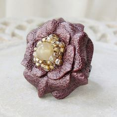 CLOSEOUT SALE  Ruffles Leather Flower Ring in ❤ by Viridian on Etsy