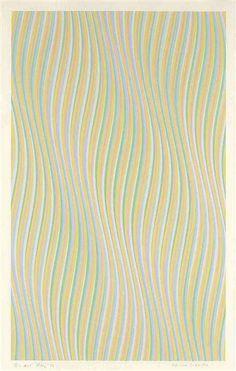 "Bridget Riley, ""Five Colour Twisted Curve,"" 1976, 38.5"" x 25.5"". graphite and gouache on paper"