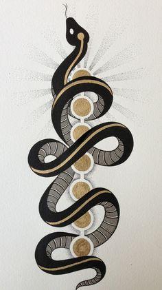 tattoo idea. Snake curling around 7 chakras.