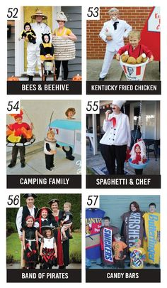 Unique Family Costume Ideas. Love these DIY Halloween costume ideas for the whole family.