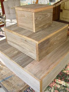 3 Tier Wood Cake Stand Rustic Wedding Cupcake Box Plate Barn Wood Primitive…