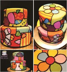 A cake inspired by the Art of Romero Britto Más Unique Cakes, Creative Cakes, Gorgeous Cakes, Amazing Cakes, Patchwork Cake, Funny Cake, Glass Cakes, Sugar Cake, Painted Cakes