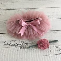 SET Vintage Pink Dusty Rose Mauve tutu skirt bloomers diaper cover, pearl rhinestone flower glitter headband bow, newborn toddler baby girl