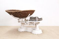 Amazing White Steel baby Scale with Original Wicker Basket