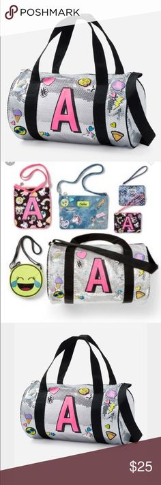 """Initial Emoji Duffle Bag - Initials S - G- H Justice Initial Bag.  I have initials S, H, G.  Allover shimmering silver sequin duffel bag with colorful emoji patches and graphics. Pink glitter initial on front. Carry with adjustable shoulder strap or use handles. Top zipper closure 16"""" x 9.25"""" x 9.25"""" Justice Accessories Bags"""