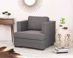 Super glam studded details make the Seaview chair pop in any living room. #accentyourlife #homestyle #affordablechic