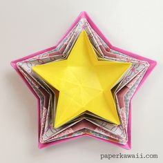 Origami Star Bowl Instructions - Learn how to make a simple origami star dish… Origami Rose, Origami Star Box, Origami Stars, Origami Flowers, Origami Paper, Diy Paper, Paper Crafts, Oragami, Dollar Origami