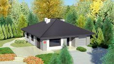 Wizualizacja Dom przy Słonecznej 6 CE Bungalow House Design, Future House, Gazebo, House Plans, Shed, New Homes, Outdoor Structures, Cabin, How To Plan