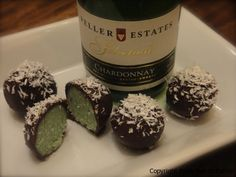 Mint Chocolate Truffles of Avocado, Coconut Butter, Agave, Mint Extract, & Topping of Coconut Flake