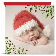 This double-sided photo card is a modern way to send your holiday greeting. Your photo is printed on one side with festive holly leaves, while the opposite side holds room for your personalized greeting. The size of the printed photo is x Holly Leaf, Holiday Greeting Cards, Real Simple, Photo Cards, Crochet Hats, Green, Prints, Knitting Hats, Printmaking