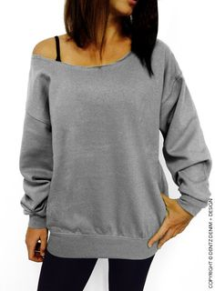 Blank Slouchy Oversized Sweatshirt   >>>>>>COLORS AVAILABLE ARE: <<<<<<<<<  GRAY GREEN PINK RED DESCRIPTION: The sweatshirt can be worn off either