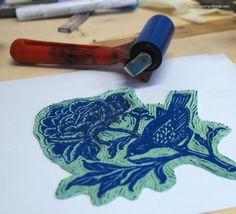 blue bird linocut