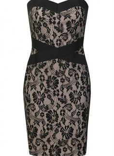 Strapless Floral Lace Fitted Dress with Zip Up Back,  Dress, floral dress  lace overlay, Chic