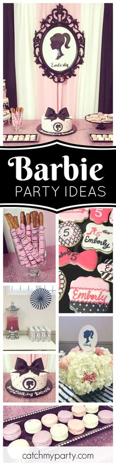 Check out this chic vintage Barbie birthday party. Loving the birthday cake and cookies!! See more party ideas and share yours at CatchMyParty.com