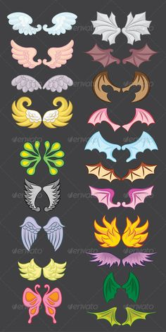 Buy Wings Cute Collection Part III by alitsuarnegara on GraphicRiver. Wings Cute Collection Part III, Easy to use. ZIP file included : EPS (CMYK vector file = you can use any size you wan. Demon Wings, Ange Demon, Bird Wings, Cartoon Drawings, Easy Drawings, Easy Dragon Drawings, Cute Dragon Drawing, Gladio Pokemon, Anime Devil
