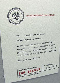 Top Secret Spy Letterpress Wedding Invitation | Digby & Rose Invitations DC