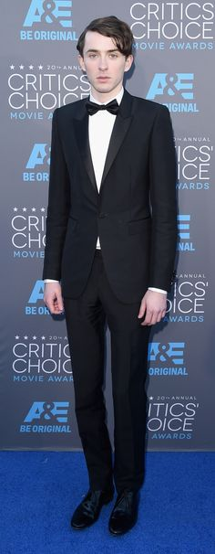 British actor Matthew Beard wearing a Burberry tuxedo to the 20th Annual Critics' Choice awards in Los Angeles