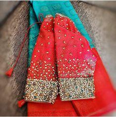 Hand Work Blouse Design, Blouse Designs Silk, Bridal Blouse Designs, Dress Designs, Hand Embroidery Designs, Embroidery Blouses, Lehenga Designs Simple, Sleeve Designs, Pink Saree
