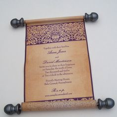 Elegant medieval style scroll wedding invitation on cotton fabric with damask and handpainted accents - SAMPLE by ArtfulBeginnings