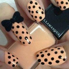 Peach Polka dots and bows