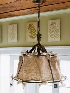 Burlap lamp shade - need to re-do shades on outdoor lamps and this may just the way to do it!