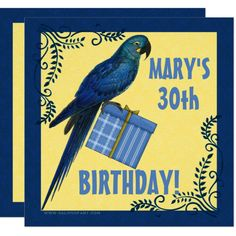 Shop Birthday Party Blue and Yellow Macaw Parrot Invitation created by PersonalExpressions. 30th Birthday Invitations, Birthday Gifts, Birthday Parties, Birthday Ideas, Parrot Painting, Professional Business Card Design, Create Your Own Invitations, Damask, Yellow