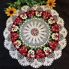 """RED"" PANSY LACE crochet doily"