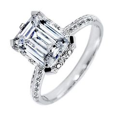 Emerald Cut Engagement Rings Pave Setting 19