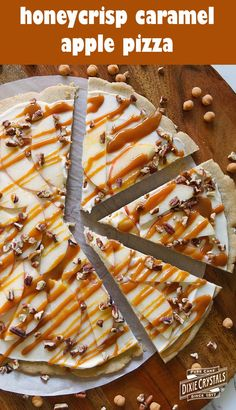 Honeycrisp caramel apple pizza-say hello to fall with this autumn inspired recipe. honeycrisp apples shine on a spiced sugar cookie crust, vanilla cream Apple Desserts, Apple Recipes, Fall Recipes, Cookie Recipes, Delicious Desserts, Dessert Recipes, Brownie Recipes, Pizza Recipes, Sweet Recipes