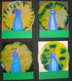 Fine Lines: Peacocks Galore!! Liquid water color on coffee filters. bird, classroom, art lesson, coffee filter art, melted crayons, peacock art kids coffee filter, art education, elementary art, coffee filters