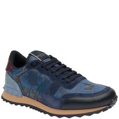 VALENTINO Leather Blue Butterfly Sneakers