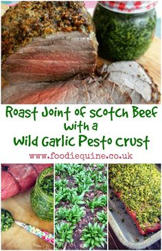 Spring Roast of Scotch Beef with a Wild Garlic Pesto Crust Garlic Recipes, Beef Recipes, Wild Garlic Pesto, Roasting Tins, Beef Sirloin, Edible Food, Food Stamps, Lamb Chops, Food Website