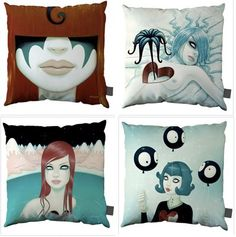 The cushions are available as 40 cm x 40cm throw pillows or a 100cm x 100cm floor cushions. Their stock is always changing but at the moment they carry one of my favorite artists, Tara McPherson, whose 4 available designs are shown above.