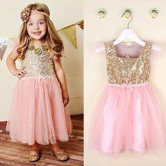Flower Girls Kids Toddler Baby Princess Party Sequins Wedding Tulle Tutu Dresses #Unbranded #DressyEverydayHolidayPageantWedding