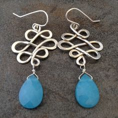 Sterling Silver Lattice Earrings with Blue Quartz Briolettes. I like how the lattice isn't symetrical in this one.