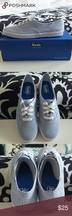 Keds blue check shoes Brand new Keds, never worn. They still have the cardboard pieces in them with the box. Keds Shoes