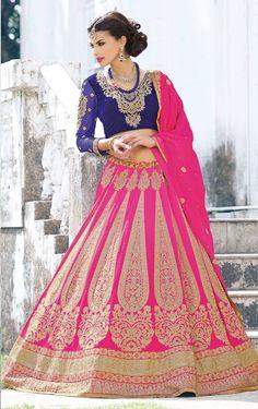 Baby Pink designer bridal lengha choli in georgette D15100