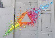 Rainbow Origami Street Art
