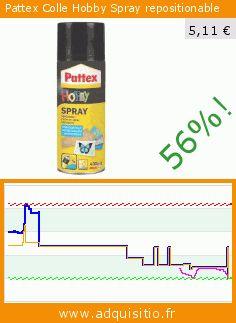 Pattex Colle Hobby Spray repositionable (Outils et accessoires). Réduction de 56%! Prix actuel 5,11 €, l'ancien prix était de 11,62 €. https://www.adquisitio.fr/pattex/colle-hobby-spray-0