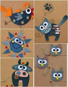 Jean Crafts, Denim Crafts, Paper Crafts, Diy Arts And Crafts, Crafts For Kids, Sewing Crafts, Sewing Projects, Felt Ornaments Patterns, Kindergarten Art Projects