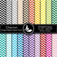 CHEVRON MEGA This listing is for 20 printable High Quality Digital papers. Each paper measures 12 x 12 inch, 300 DPI, JPEG format. Great for scrapbooking, making cards, invitations, tags and photographers.