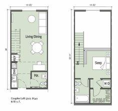 Apartamento pequeno com 1 quarto loft
