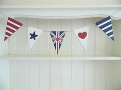 Hand Painted Nautical Red White and Blue Bunting with Union Jack Flag Pennant. Hand Painted Wooden Nautical Decor, an ideal Coastal gift. Blue Bunting, Bunting Garland, Farrow And Ball Drawing Room Blue, Farrow Ball, Jack Flag, Union Jack, Nautical Theme, Red And White, Plywood