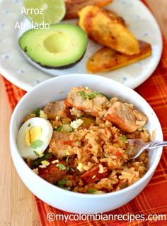 """Arroz Atollado: This is a typical rice and pork dish from the Colombian region """" Valle del Cauca"""". It's perfect to feed a crowd. Colombian Dishes, My Colombian Recipes, Colombian Cuisine, Cuban Recipes, Rice Recipes, Yummy Recipes, Rice Dishes, Main Dishes, One Pot Meals"""