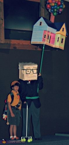 Mr. Fredrickson, Russel and the House from Pixar's Up! - 2013 Halloween Costume Contest via @costumeworks