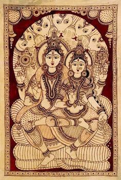 Kalamkari = kalam + kari kalam means pen and kari means craftmanship , so Kalamkari means drawing with pen. But here I'm not discussing. Lord Shiva Painting, Buddha Painting, Mural Painting, Fabric Painting, Kalamkari Painting, Madhubani Painting, Rajasthani Art, Mandala Art Lesson, Madhubani Art