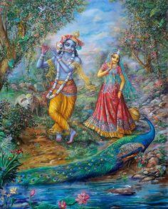 [K61] Radha and Krishna see peacocks dance