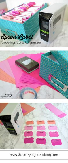 No more forgetting to send a birthday card or Mother's Day card with this easy to make month-by-month Greeting Card Organizer with Epson label maker!